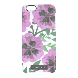 Purple Watercolor Painterly Floral Personalized Clear iPhone 6/6S Case
