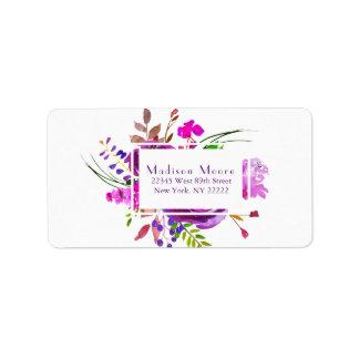 Purple Watercolor Peony Bouquet Label