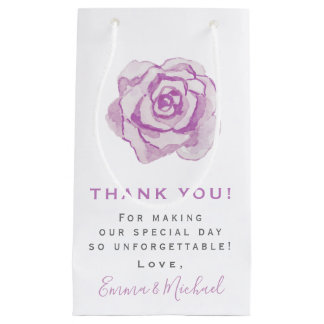 Purple watercolor Rose | Thank You Wedding Small Gift Bag