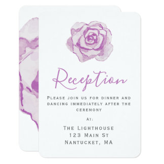 Purple Watercolor Rose | Wedding Reception Insert Card
