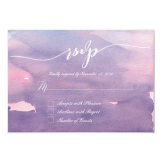Purple watercolor RSVP Cards 9 Cm X 13 Cm Invitation Card