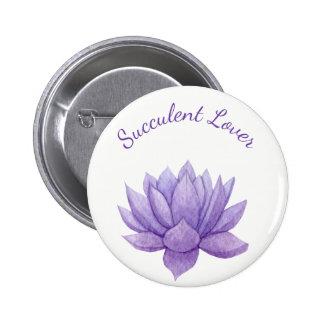 Purple Watercolor Succulent Button