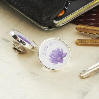Purple Watercolor Succulent Lapel Pin