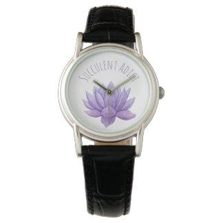 Purple Watercolor Succulent Watch