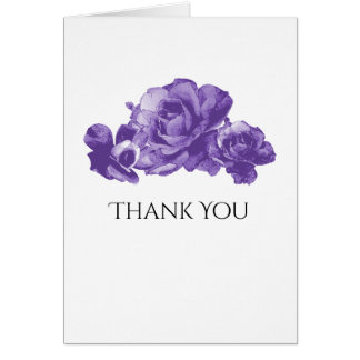 Purple Watercolor Vintage Roses Elegant Thank You Card