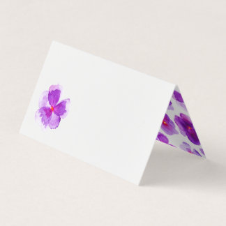 Purple watercolor viola wedding event place cards