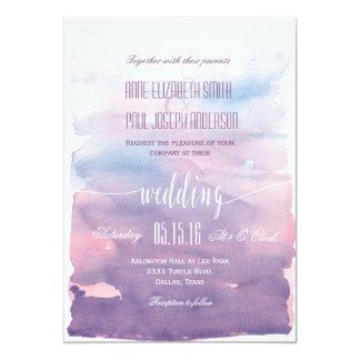 Purple Watercolor wedding invitation II