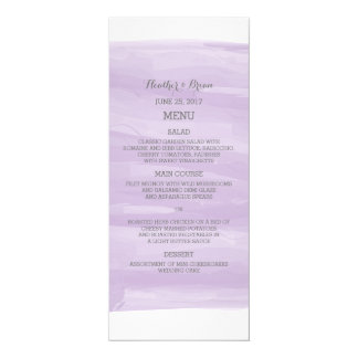 Purple Watercolor Wedding Menu 4x9.25 Paper Invitation Card