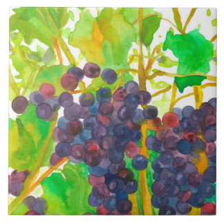 Purple Watercolor Wine Grapes Ceramic Tile