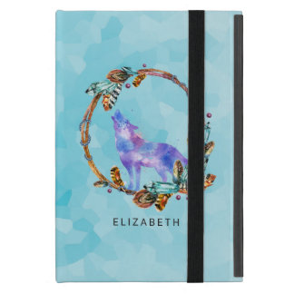 Purple Watercolor Wolf with a Boho Wreath Custom iPad Mini Case
