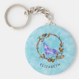 Purple Watercolor Wolf with a Boho Wreath Custom Key Ring