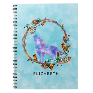 Purple Watercolor Wolf with a Boho Wreath Custom Notebook