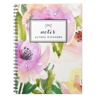 Purple Watercolour Lilies Floral Personalised Note Books