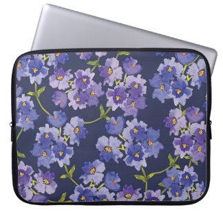 Purple Watercolour Navy Background Laptop Sleeve