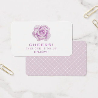 Purple Watercolour Rose | Wedding Drink Ticket