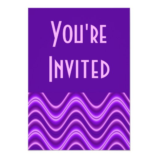 purple wave 13 cm x 18 cm invitation card
