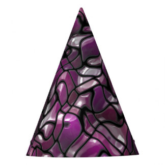 Purple Waves Abstract Party Hat