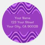 purple waves round sticker