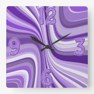 purple waves square wall clock
