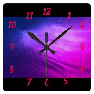 Purple Waves Square Wall Clock