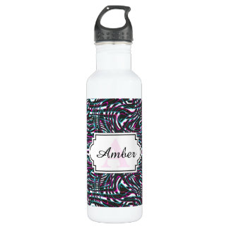 Purple wavy stripes optical illusion 710 ml water bottle