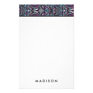 Purple wavy stripes optical illusion stationery