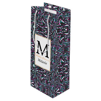 Purple wavy stripes optical illusion wine gift bag