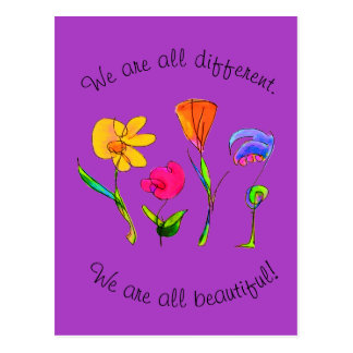 Purple We Are All Different & Beautiful Diversity Postcard