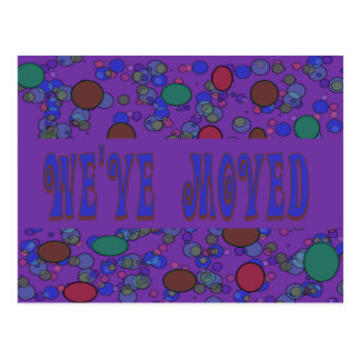 purple we ve moved postcards