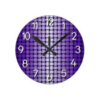 Purple Weave Pattern Round Clock