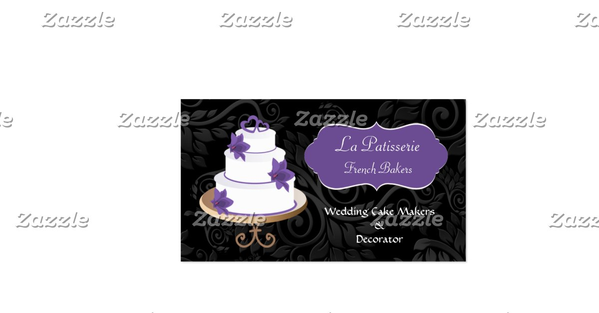 wedding cake business from home purple wedding cake makers business cards zazzle 22133