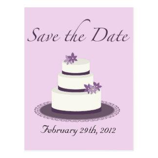 Purple Wedding Cake Save the Date Postcard
