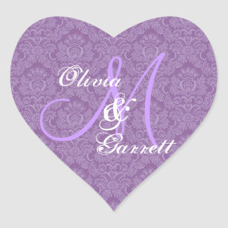 Purple Wedding Damask Monogram Any Initial V01 Heart Sticker