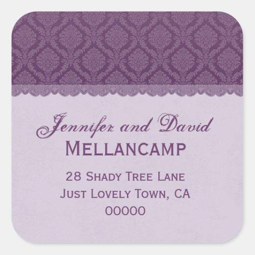 Purple Wedding Damask Square Return Address Stickers