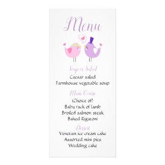 Purple Wedding Menu Pink & Lavender Lovebirds
