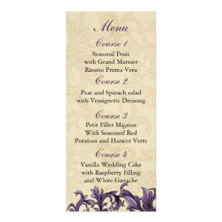 purple  Wedding menu Rack Cards