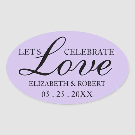 Purple Wedding Oval Sticker Invitations Lavender