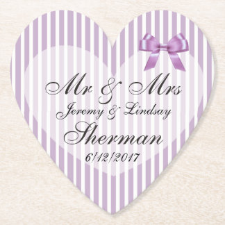 Purple Wedding Personalized Custom Paper Coaster