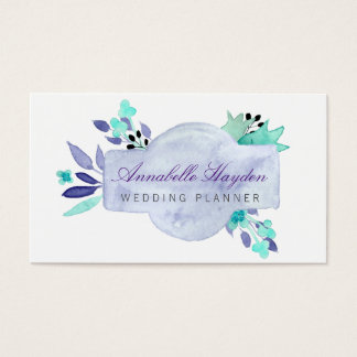Purple wedding planner Vintage Floral businesscard Business Card
