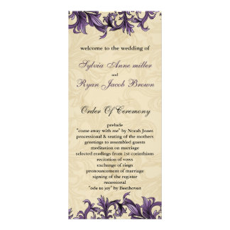 purple Wedding program Custom Rack Cards