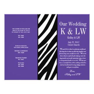 Purple Wedding Program Zebra Stripes Pattern Custom Flyer