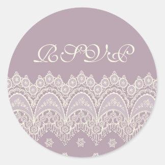 Purple Wedding RSVP Envelope Seals Round Sticker