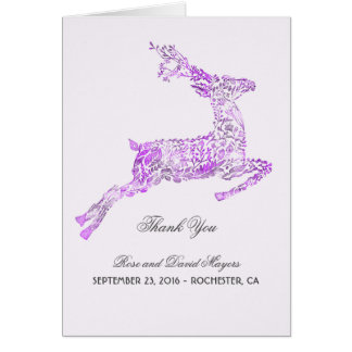 Purple Wedding Thank You with Deer Card
