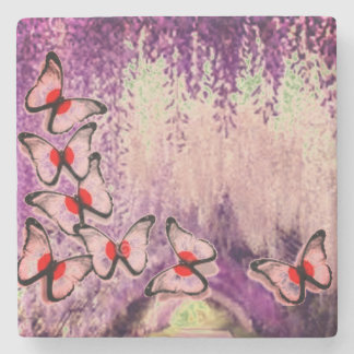 Purple Weeping Butterfly Tree Stone Coaster