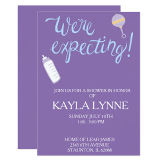 Purple we're expecting baby shower Invitation. Card