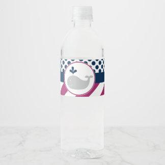 Purple Whale Baby Shower Water Bottle Labels