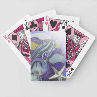 Purple whale bicycle playing cards