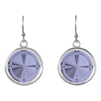 Purple Wheel Circle Drop Earrings