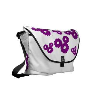 Purple Wheels circles theme messenger bag