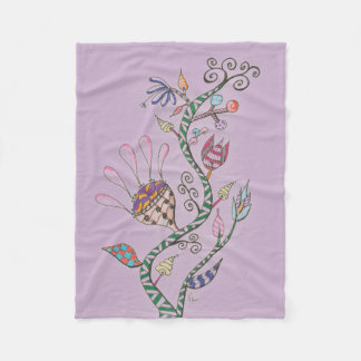 Purple Whimsical Flowers Fleece Blanket